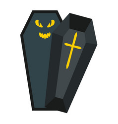 halloween coffin flat icon halloween and scary vector image vector image