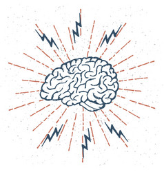 hand drawn brain lightning bolts vector image