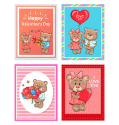 Happy valentines day i love you set of poster bear vector