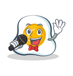 Karaoke fried egg character cartoon vector