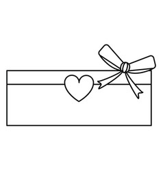 Love cardboard box bow heart romance present line vector