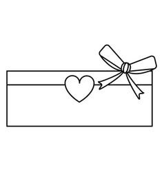 love cardboard box bow heart romance present line vector image vector image