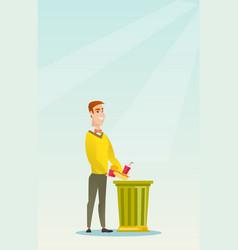 Man throwing junk food vector