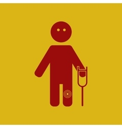 man with crutch and knee pain vector image vector image