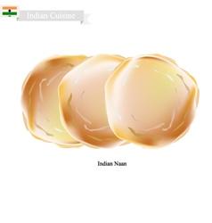 Naan or indian flat bread on white background vector