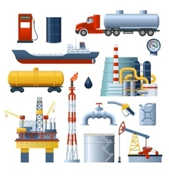 Oil industry elements set vector