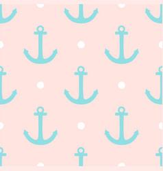 Sailor pattern with polka dots and anchors vector