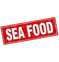 Sea food red square grunge stamp on white vector