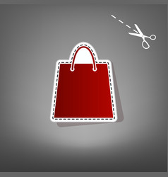 Shopping bag red icon with vector