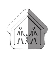 sticker of monochrome contour of family group in vector image vector image