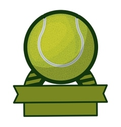 Tennis tournament thropy emblem with ball vector