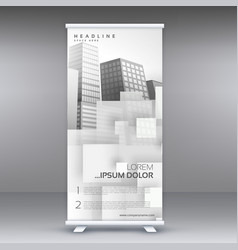 white roll up standee banner design for your vector image
