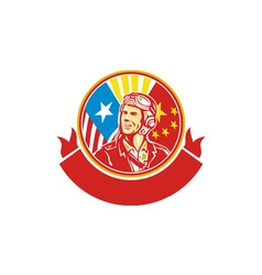World War 2 Pilot USA China Flag Circle Retro vector image