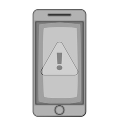 Warning on mobile phone icon vector