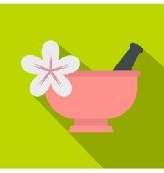 Mortar and pestle icon flat style vector