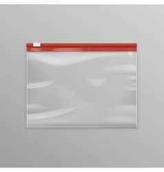 Red sealed transparent plastic zipper bag vector