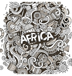 Cartoon cute doodles africa vector
