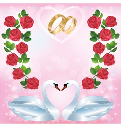 Wedding greeting or invitation card with two swans vector