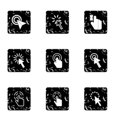 Pointer icons set grunge style vector