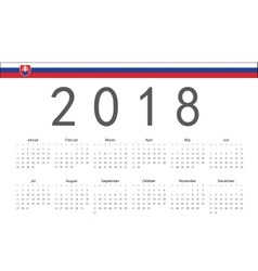 Slovak 2018 year calendar vector image