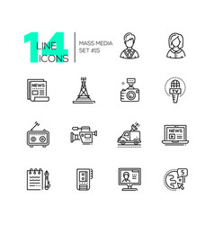 Mass media - modern single line icons set vector