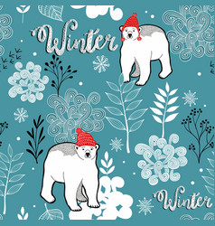 seamless winter pattern of frozen forest and white vector image