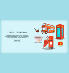 England symbols banner horizontal cartoon style vector