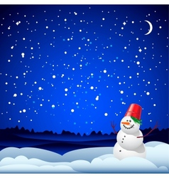 Christmas and new year card with snowman vector