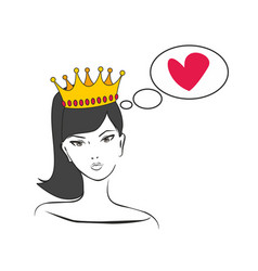 Queen or princess thinking about love vector