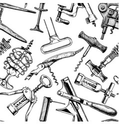 seamless pattern with different corkscrews vector image