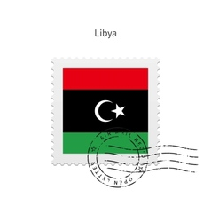 Libya flag postage stamp vector