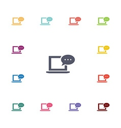 Laptop message flat icons set vector