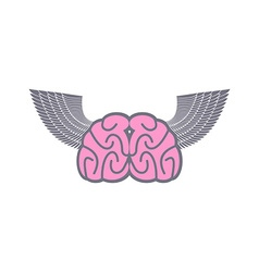 Brain with wings symbol logo ideas brain with vector