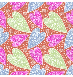 Pattern decorative colorful hearts vector