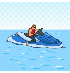 Jetski on water pop art style vector image