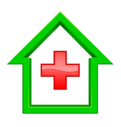 Green house with a red cross inside vector