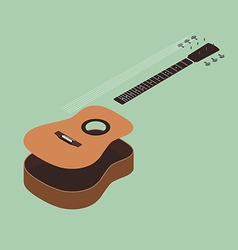 Acoustic guitar isometric flat design vector