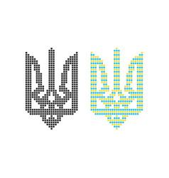 Black and colored pixel art ukrainian emblem vector
