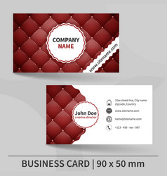 Business card template with red leather texture vector