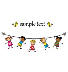 children hanging on a rope vector image