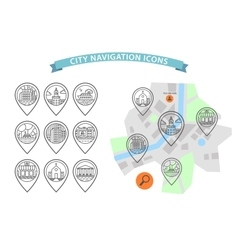 city navigation icons set vector image