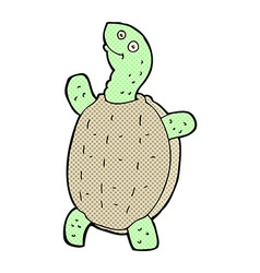 Comic cartoon happy turtle vector