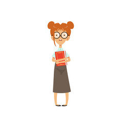 confused nerd girl standing with book in hands vector image vector image