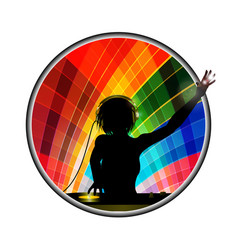 female dj silhouette in multicoloured border vector image vector image