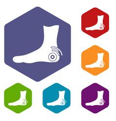 Foot heel icons set hexagon vector
