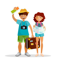 girl and boy tourists are traveling together vector image