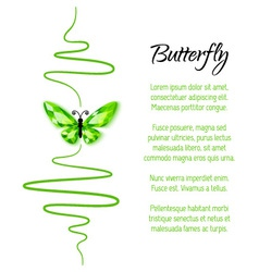 Green diamond butterfly flying up vector