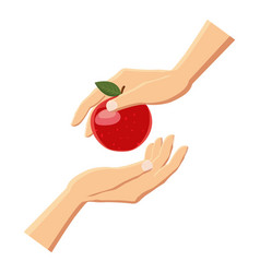 hand giving red apple icon cartoon style vector image