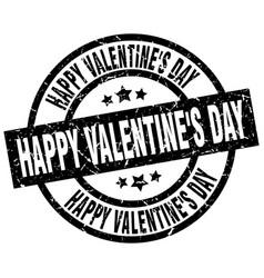 happy valentines day round grunge black stamp vector image