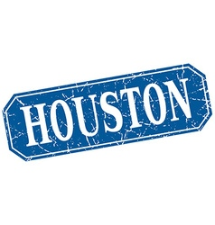 Houston blue square grunge retro style sign vector